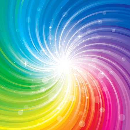 rainbow color star: Glittering stars on colorful swirl background. Illustration