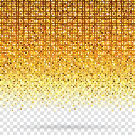 Golden pixels flickering texture abstract background.