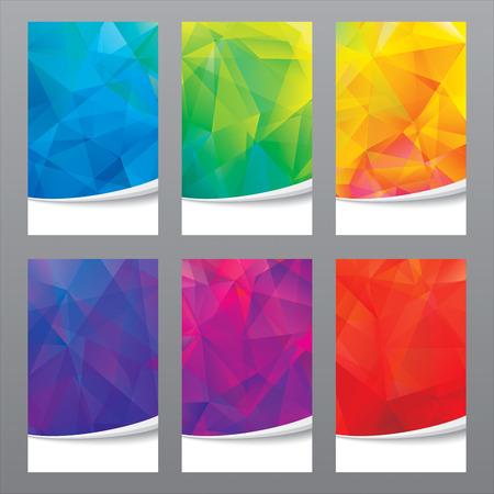 Set of modern geometric colors background.