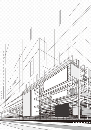 technology: Abstract architecture wireframe of building background.