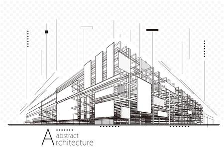 추상 건설 관점 건축 라인 아트 배경입니다. 일러스트