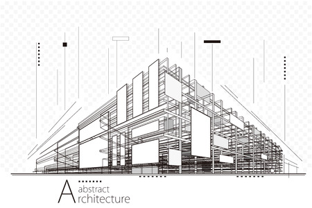 Arquitectura abstracta de la perspectiva de la construcción que diseña el fondo del arte de la línea.