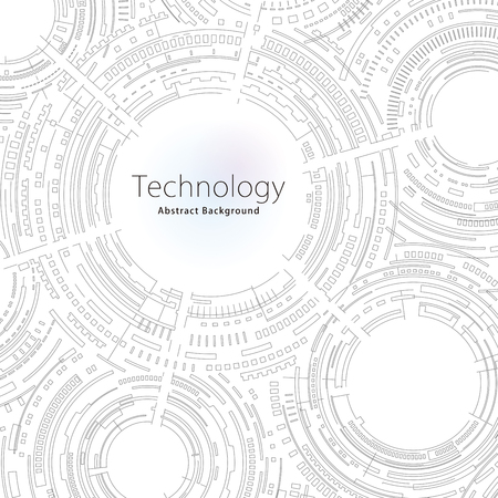 Technology composition black and white outline abstract background.