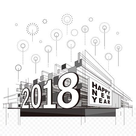 Happy New Year 2018 celebration fireworks urban abstract background. Illustration