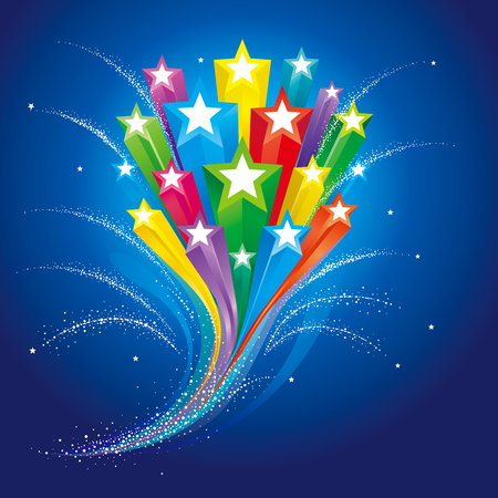 Stars flowing abstract background for celebration events.