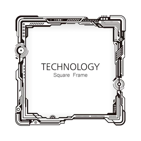Square technology black and white frame border design background. Illustration