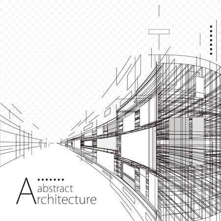 Prospettiva della costruzione di architettura che progetta fondo astratto in bianco e nero.