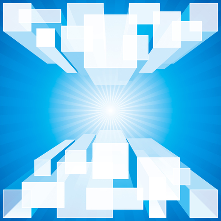 Perspective structure blue abstract geometric background.