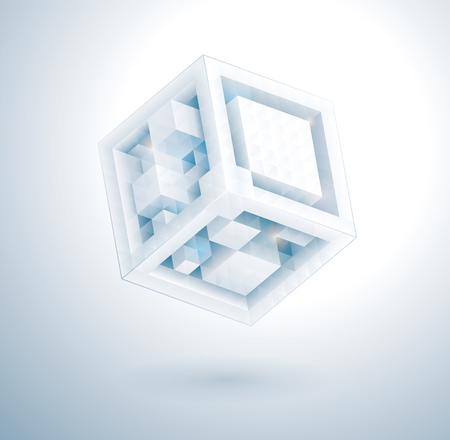 Modern abstract 3d technology cube design infographic template.