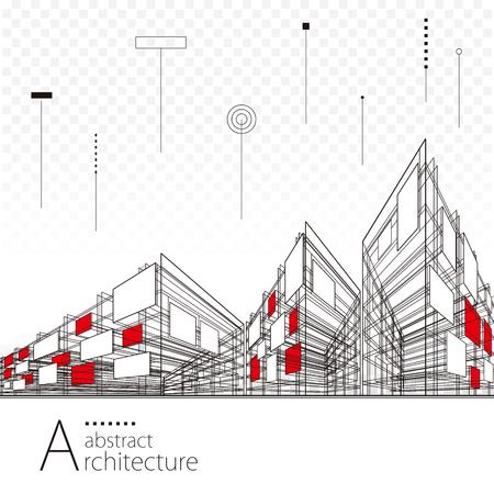 Architektura kreatywne miasto budowanie linii perspektywicznych, nowoczesna architektura miejska abstrakcyjne tło. Ilustracje wektorowe