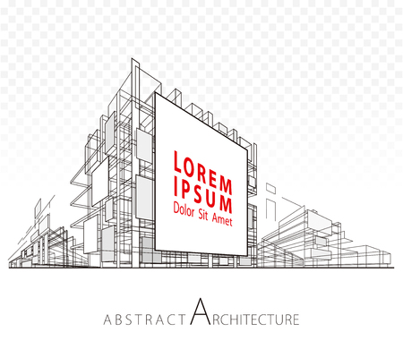 Architecture construction perspective designing abstract background with building billboard.