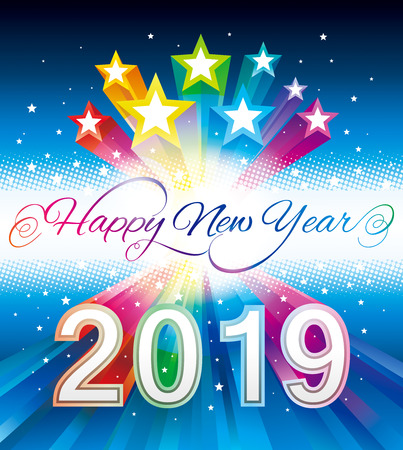 Happy New Year 2019 with Glittering colorful star background.