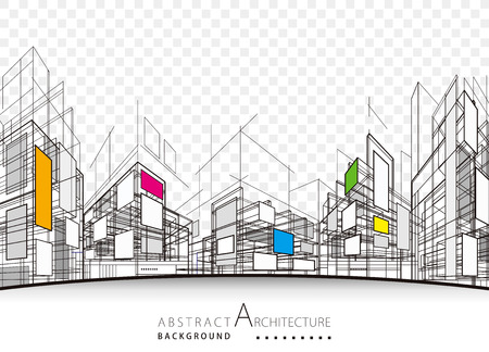 Architecture building perspective lines, modern urban architecture abstract background.