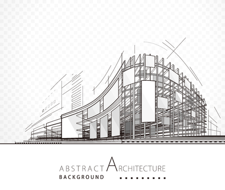 Architecture abstract black and white building design background. Çizim