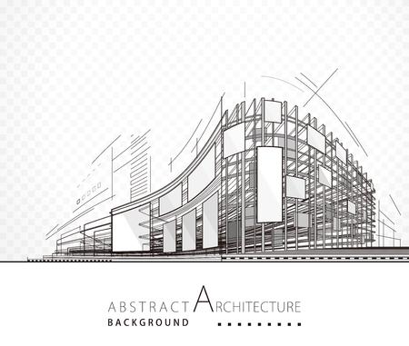 Architektura streszczenie czarno-białe tło projektu budynku.