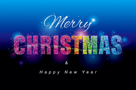 Colorful Glittering dots Merry Christmas and New Year holiday background.