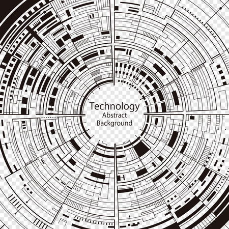 Technology composition black and white abstract background.