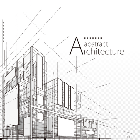 Architecture building construction urban 3D design abstract background. Illustration