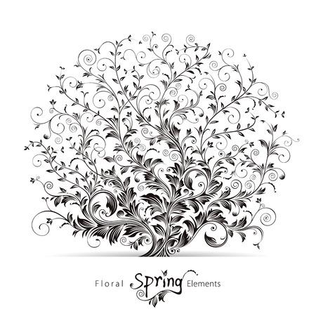 Spring tree floral elements design