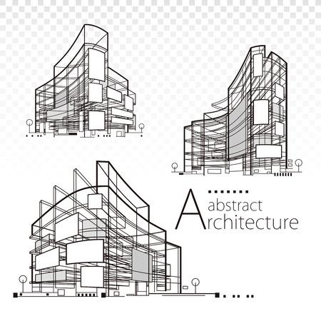 3D illustration architecture abstract modern building design set.