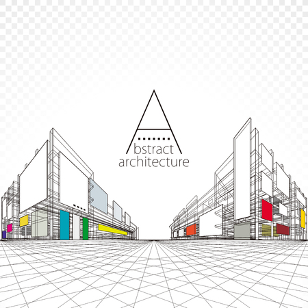 3D illustration architecture building perspective design, modern urban architecture abstract background. Illustration