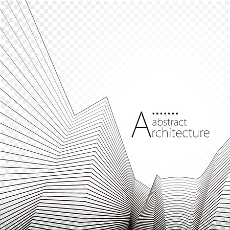3D illustration architecture modern urban building perspective abstract background design.