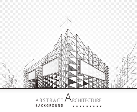 3D illustration architecture modern building construction perspective abstract background. Illustration