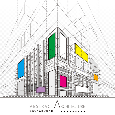Architecture building construction urban 3D illustration abstract background.  イラスト・ベクター素材