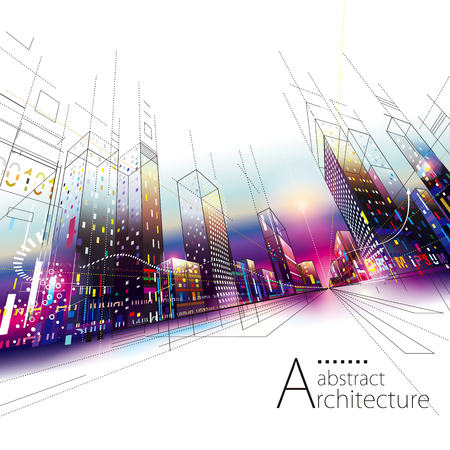 3D illustration architecture urban city modern building perspective abstract background. Illustration