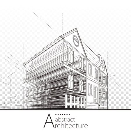 3D illustration architecture building construction perspective abstract background. Illustration