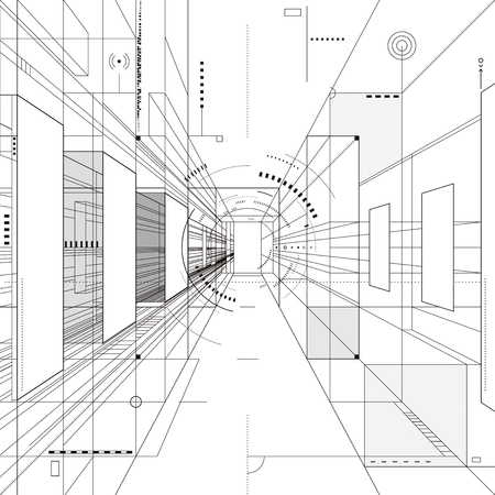 Abstract architecture perspective 3D illustration background.