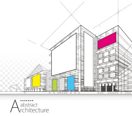 Architecture building perspective design, modern urban architecture abstract Иллюстрация