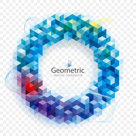 Geometric modern pattern circular frame with transparent abstract background. Illusztráció