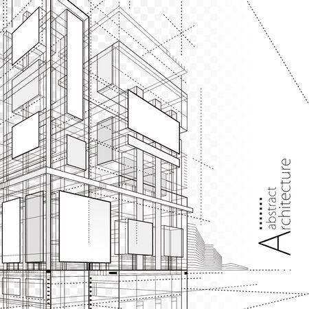 Architecture building construction urban 3D design abstract background. Illusztráció