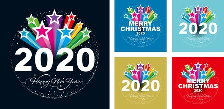 Happy New Year2020 with Glittering colorful star background.