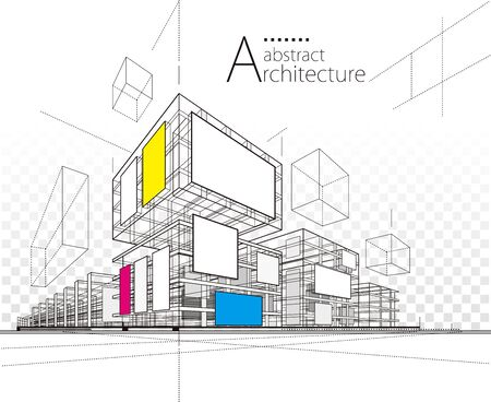 Architecture building construction urban 3D illustration abstract background. Illustration