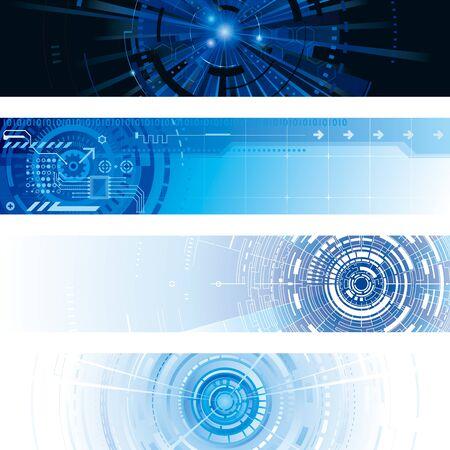 Set of abstract technology digital web banner Illusztráció