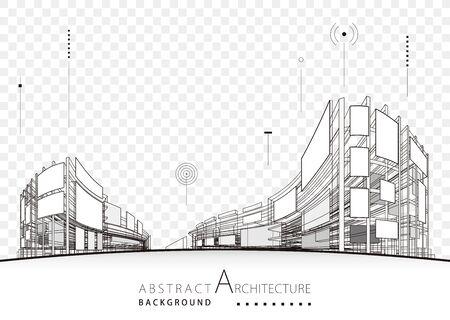 Architecture building construction urban 3D architecture design background. Illusztráció