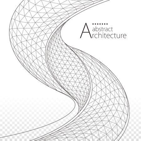 3D illustration architecture modern urban geometric perspective abstract background design. Иллюстрация