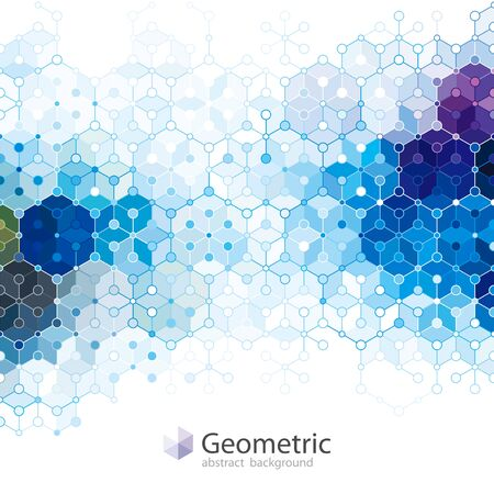 Geometric molecule structure blue abstract background.