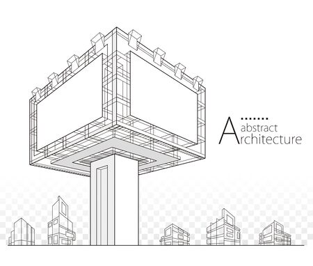 3D illustration architecture modern building construction billboard abstract background design.