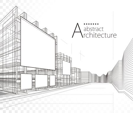 3D illustration architecture building construction abstract design background.