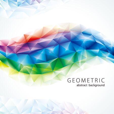 Abstract polygonal crystal rainbow colors geometric shape background.