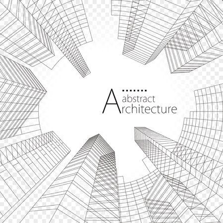 3D illustration linear drawing, architecture urban building design, architecture modern abstract background. Illusztráció