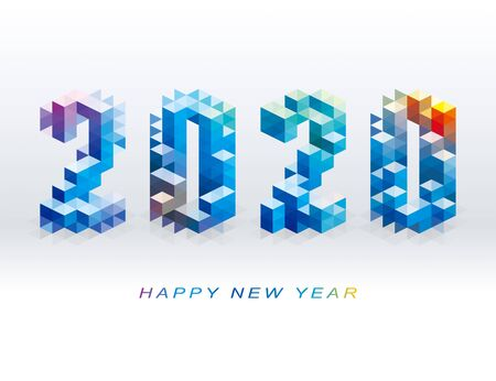 Happy New Year 2020 logo design with abstract geometric shapes for decoration, celebration, winter holiday, infographic.