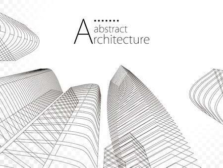3D  linear drawing, architecture urban building design, architecture modern abstract Illusztráció