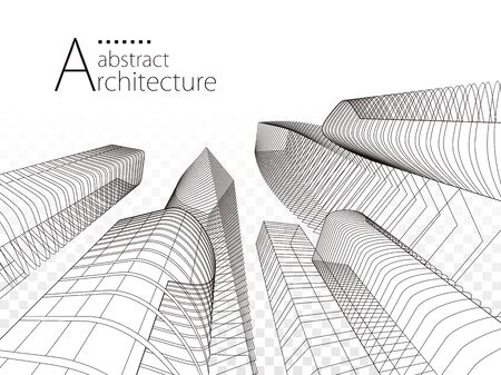 3D illustration linear drawing, architecture urban building design, architecture modern abstract background. Ilustracja