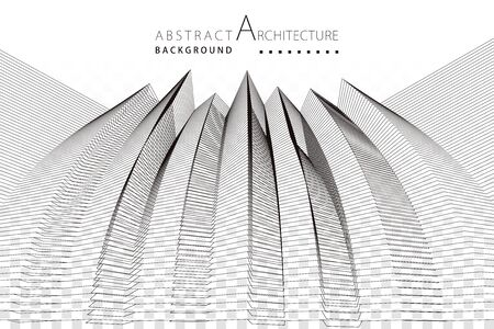 3D illustration architecture building construction perspective design abstract background. Illusztráció