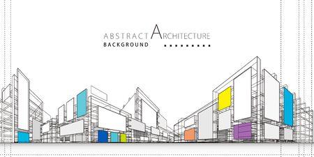 3D illustration architecture building construction perspective design,abstract modern urban background. Ilustração Vetorial