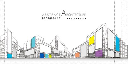 3D ilustracja architektura budynek konstrukcja perspektywa projekt, abstrakcyjne nowoczesne tło miejskie. Ilustracje wektorowe